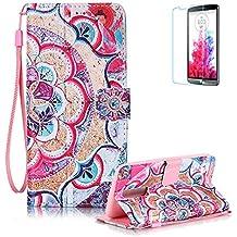 Funyye - Funda de piel de diseño elegante, modelo con flor de loto de colores, soporte a modo de libro, tipo cartera, con película protectora para iPhone 5/5S y iPhone SE Color-01 LG K7/K8