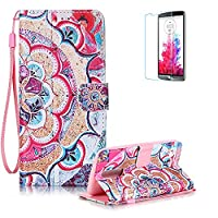 LG K7/K8 Case [with Free Screen Protector], Funyye Good Quality Stand Feature Colourful PU Leather Magnetic Wallet with [Credit Card Holder] and [Wrist Strap] Full Body Protection Flip Case Cover Shell for LG K7/K8 - Half Flowers