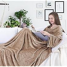 Manta con mangas y bolsillos, de forro polar de microfibra, cómoda y suave,