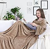Blanket with sleeves and pockets, fleece microfibre, comfortable and soft, 260 gsm thick, microfiber, beige, 150x180