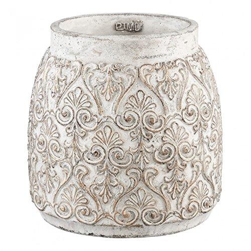 PTMD Übertopf Floralstone gold Cement round pot XL in Beton-Optk - Blumentopf Pflanztopf Maße: 23.5 x 23.0 x 23.0 cm