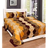 Homefab India Dreams 140 TC Polycotton Double Bedsheet with 2 Pillow Covers - Modern, Brown