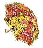 Jaipuri Designer Handmade Embroidery Round Mini Umbrella For Kids 21 x 26 Inches