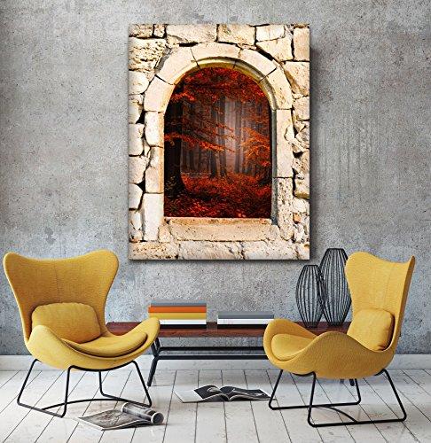 Foresta Rossa 3d vista da una pietra arco finestra Stampa su tela Wall Art, XL, (Archi Wall Art)