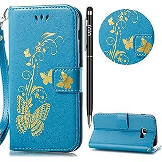 Galaxy A3 2017 Handyhülle,Galaxy A3 2017 Hülle,WIWJ PU Cover Case Leder[Heißprägen Prägung Schmetterlinge Ledertasche]Hülle für Samsung Galaxy A3 2017-Blau