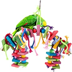 Interlink-UK Papagei Spielzeug Kauspielzeug Spielzeug hängen Bunte Biss, geeignet für Papageien, Sittiche, Aras, Graupapageien,Holzblock