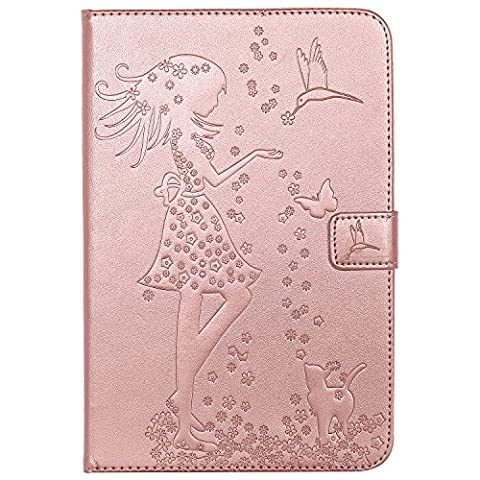 iPad Mini 4 Case, iPad Mini 4 Smart Case,iPad Mini 4 Tablet Case,Cozy Hut Ultra Slim Fashion Pretty [Girls and cats] Shockproof Scratch Resistant Perfect Fit PU Leather Wallet Purse Folio Smart Stand Cover with Card Cash Slot Soft TPU Inner Case Protective Skin For iPad Mini 4 with Auto Sleep - Rose