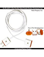 Hi-PLASST 2-Pin Flexible Male-Female Socket,Flat Wire,Extension Cord for Multipurpose Use,Festive Decorations,Diwali,Christmas,etc (2mtr)