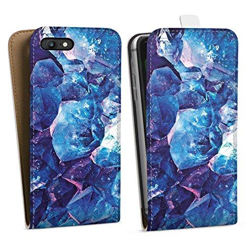 Apple iPhone X Silikon Hülle Case Schutzhülle Kristall blau Edel Muster Downflip Tasche weiß