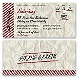 (10 x) Einladungskarten Geburtstag Vintage Retro Alt Ticket Karte Einladungen Weiß