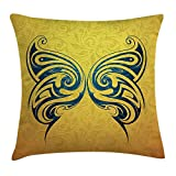 Trsdshorts Tattoo Throw Pillow Cushion Cover, Blue Colored Tribal Designed Free Butterfly Symbol of and Freedom Artwork Print, Decorative Square Accent Pillow Case, 16 X 16 inches, Blue and Yellow