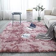 Aomerrt Nordic fashion fluffy non-slip mixed dyed carpet Living room/bedroom center carpet black gray pink sky blue 9 colors