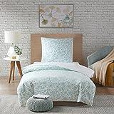 SCM Bettwäsche 135x200cm Grün Blumen 2-teilig Bettbezug & Kissenbezug 80x80cm in Stickerei-Look Ideal für Schlafzimmer Halsey