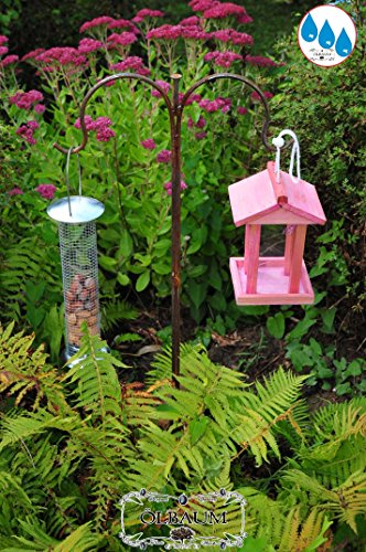 'Pink/pink, Pink, Bird House, Bird House Bird Feeder Solid Wood Jar With Stand, + Hardy, Wooden Bird Table With Bird Feed Silo Large – 1 litre With Large Double Metal Bracket/double Shepherd Rod With Metal Galvanised Feeder – colour Pink Rose Red