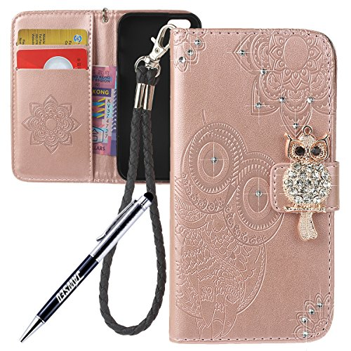 iPhone 5S Cover Custodia, iPhone 5 Custodia Pelle, JAWSEU iPhone 5 5S SE Protezione Creativo Diamante Gufo Libro Disegno Wallet Pouch Leather Flip Case Cover Custodia per iPhone 5/5S/SE Cover Copertur Diamante Gufo, Oro Rosa