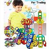 Per 95 Stk Magnetische Bausteine mit Aufbewahrungsbox für Kinder, 3D DIY Educational Kleinkind Baukonstruktion Ziegel Spielzeug für Kreativität Fantasie Hirnentwicklung
