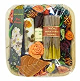 Auroshikha Sandal Gift Set - Potpourri Sandalwood Oil, Candles, Incense Sticks
