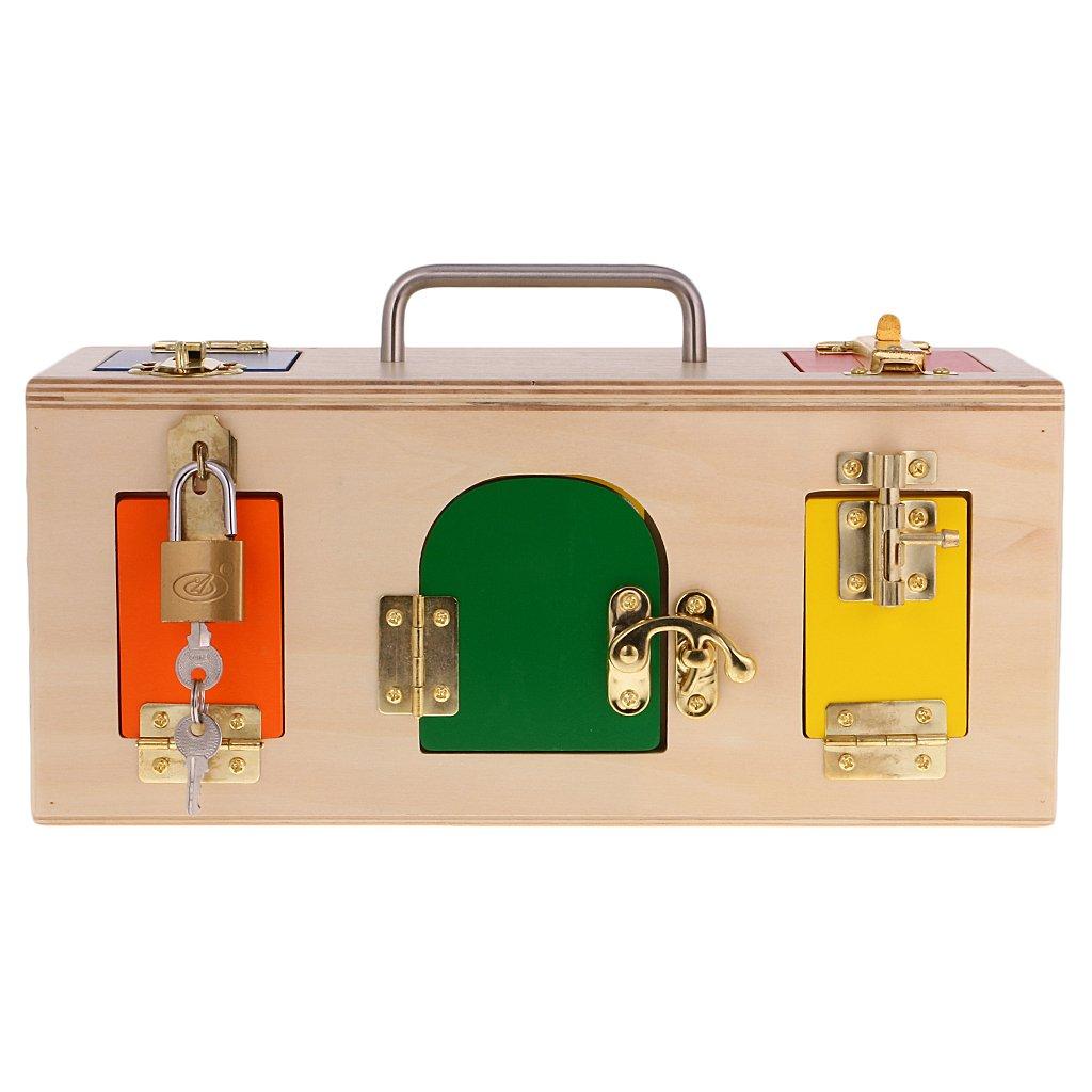 Serratura In Legno Colorato Montessori Con 10 Porte E Chiusure Diverse Gioco Di Memoria Per Bambini