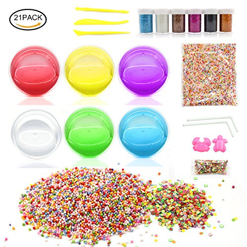50g Box (Laconile Kids Toys Soft Slime DIY Slime Kit 6 Pack Non-toxic Crystal Magic Plasticine Toys with 5000PCS Colorful Foam Balls, 1000PCS Fruit Face Decoration, 6 Glitter Shaker Jars)