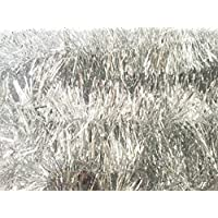 Carykon Elegant Hanging Sparkly Tinsel Garland, 5 Pcs, Each 3 Inch W x 6 Feet L, Holiday Decoration (Silver)