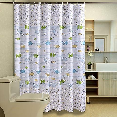 frais Poisson Motif imprimé, la moisissure et étanche Tissu Polyester Rideau de douche avec gratuit Crochets pour salle de bain, Polyester, blanc, 48*72