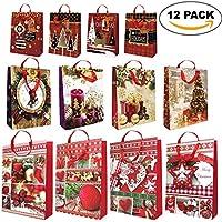 Lot de 12 - Sacs-cadeau de Noël Divers - Avec Poignées de Corde et Etiquettes-Cadeaux Assorties - Dessins Festifs Traditionnels et Modernes