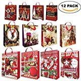 12er Pack Weihnachtstüten zum Befüllen – Geschenktüten und Weihnachtsgeschenktaschen mit Tragegriffen & Kärtchen zum Beschriften – Geschenktaschen mit verschiedenen und festlichen Designs