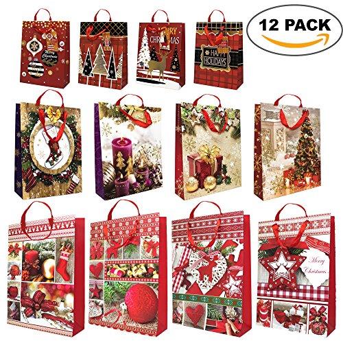 Pacco da 12 – Sacchetti regalo di natale assortiti – con corde e tag regalo – design festive moderno e tradizionale
