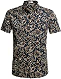 HOTOUCH Herren Hawaiihemd Urlaub Hemd Kurzarm Strandhemd Hawaii-Print Casual Baumwolle