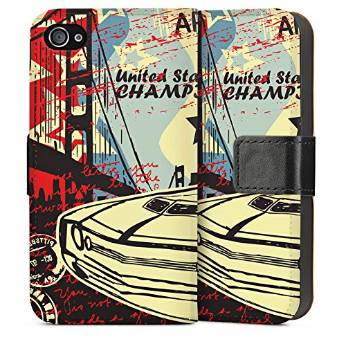 Apple iPhone 4 Housse Étui Silicone Coque Protection Voiture Lowrider Voiture musclée Rétro Sideflip Sac