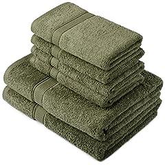 Idea Regalo - Pinzon by Amazon - Set di asciugamani in cotone egiziano, 2 asciugamani da bagno e 4 per le mani, colore: muschio