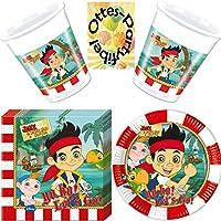 Jake and the Never Land Pirates 48tlg. Piraten Party-Set Teller Serviette Becher für 16 Kinder