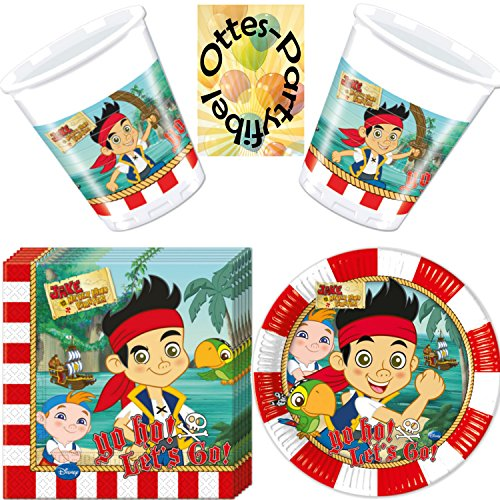 Jake and the Never Land Pirates 52 tlg. Party-Set Teller Serviette Becher für 16 (Jake Pirate)