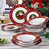 VEWEET, Serie SANTACLAUS, 18 tlg. Teller Set aus Porzellan, Kombiservice, mit Frühstückteller, Suppenteller, Speiseteller, Geschenk für Weihnachten