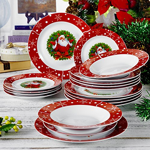 Stoviglie in porcellana, 18 pezzi Porcellana set, set di piatti, ognuno con 6 piatti da dessert, piatto di cibo e piatto di zuppa, regalo per Natale
