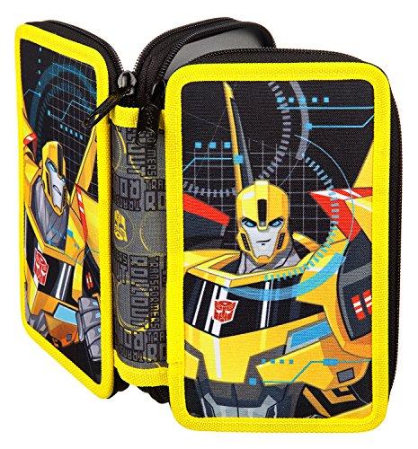 Scooli TFUV0430 Doppeldecker Schüleretui mit Stabilo Markenfüllung, Transformers, 29 teilig