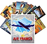 24 Postkarten Vintage Travel Posters Aviation Planes European