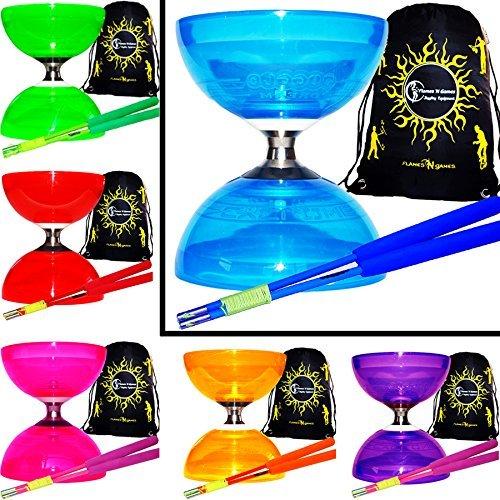 o Diabolo Set (6Colours) Triple Ball Bearing Clutch Diabolos + Matching Coloured FIBRE Handsticks, Diablo String & Bag! (Blue + Blue Sticks) by Juggle Dream ()