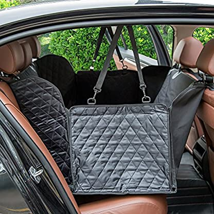 hantajanss Luxury Dog Seat Cover,Nonslip Waterproof Easy Cleaning Car Large Back Seat Pet Covers Hammock for Cars… 2