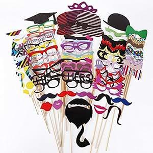 KIMILAR 76pcs moustache l¨¨vre lunettes loup masque avec baton pour Masquerade