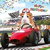 Geburtstagskarte–Happy Birthday Funny Cute Hamster Race–Goggly 3D Beweglichen Augen