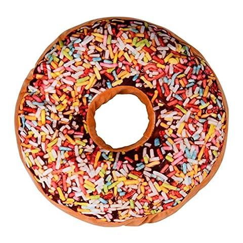 Coussin, Kolylong Mignon Coussins en Forme de Donuts Coussins de Chaise Décoratifs Oreillers Jouet En Peluche (38X38X7.5, Multicolore 01)