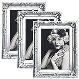 WOLTU 3er Packung Bilderrahmen 20x30cm Bild Rahmen Foto Galerie Bilder Collage Plastik Barock Silber,BR9750sb-3