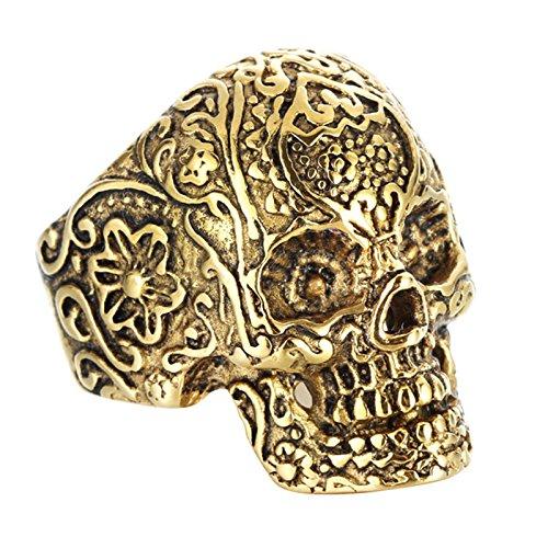 Aeici Titan Ring Herren Schädels Kopf Ring Retro Persönlichkeit Punk Geist Kopf Ring Silber Breit 1.9Cm Größe 65 - Schädel-ringe-titan