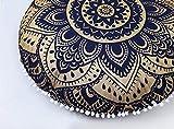 textile treasure Pouf Indien Fait à la Main Ottoman Bohème Lit pour Enfant Chien Beed Chat Décoration de Maison Housse de Coussin Mandala Rond Coussin de Sol Tabouret de Pied
