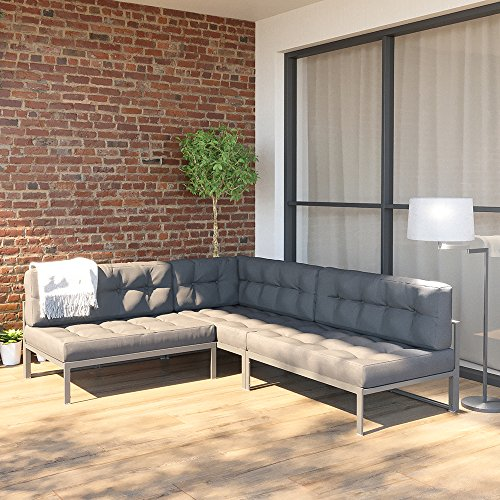 OSKAR Alu Lounge Gartenmöbel Set inkl. Palettenkissen Gartenlounge Sitzgarnitur Sitzgruppe Grau