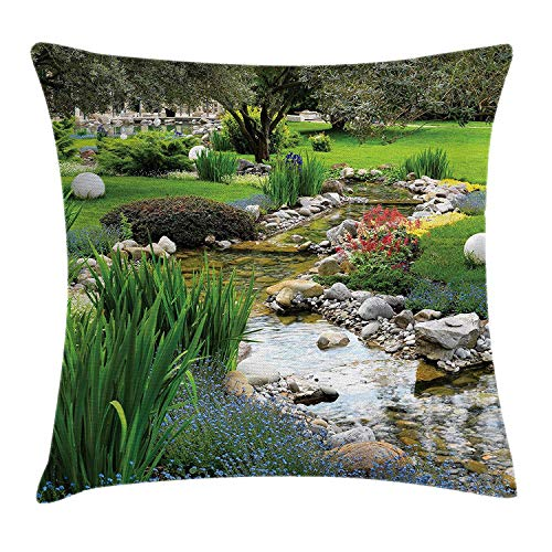 KAKICS Garden Throw Pillow Cushion Cover, Garden Pond in Asian Style with Flowing Stream and Wild Flowers Bushes Stones, Decorative Square Accent Pillow Case, 18 X 18 inches, Green and Ivory - Sandy Stream Pond