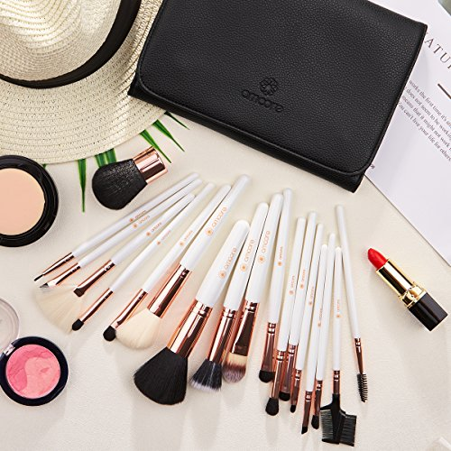 Make up Brushes, amoore 18 Pcs Makeup Brushes Set Make up Brush with Case Foundation Brush Powder Brush Concealer Brush Eyeshadow Brush