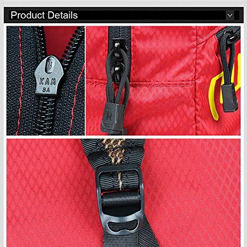 Ranbow Moda Zaino pieghevole Luce Zaino Packable impermeabile Schoolbag 15L, Azure Rosso
