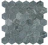 Mosaik Fliese Marmor Naturstein Hexagon Marmor grün für BODEN WAND BAD WC DUSCHE KÜCHE FLIESENSPIEGEL THEKENVERKLEIDUNG BADEWANNENVERKLEIDUNG Mosaikmatte Mosaikplatte